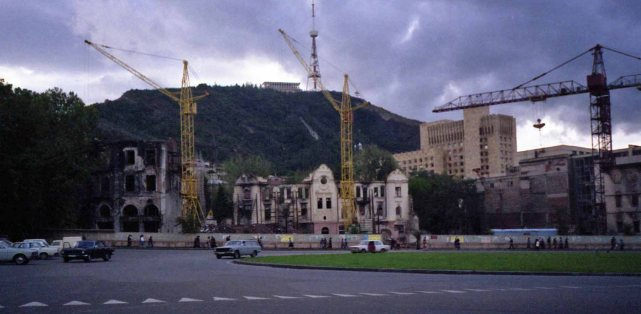 Reconstruction work to repair damage from fighting in late 1991-early 1992