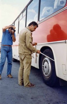 When we left an inspector tested our bus wheels for radiation levels