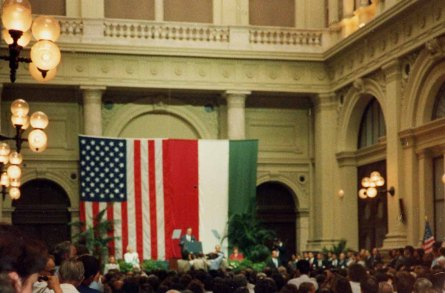 Including a 1989 visit by President George H.W. Bush seen here in Budapest