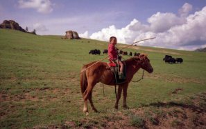 This four year old herder almost seemed to have been born in the saddle