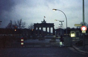 Part of the wall near the Brandenburg Gate was being dismantled