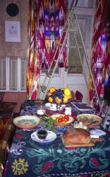 Our Uzbek silk, plates and other textiles on display in my Kyiv apartment
