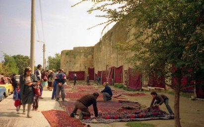 Merchants seen here selling carpets at the Derbent fortress wall
