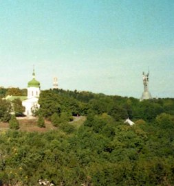 The old and the new - the Lavra and the baba war memorial