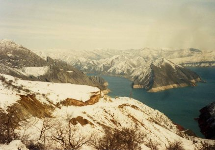 A view of stunning Tajik mountains on our March 1992 trip