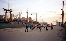 Sailors relax at sunset in the formerly closed Black Sea port city, Sevastopol