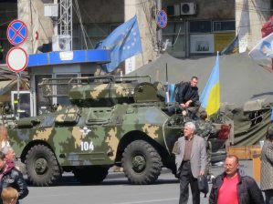 Armoured vehicle on the maidan (Independence Square) Kyiv (Kiev) April 2014