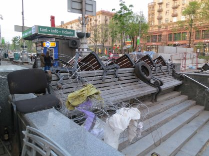 A barricade on Khreshchatyk Street near the maidan (Independence Square) Kyiv (Kiev) April 2014
