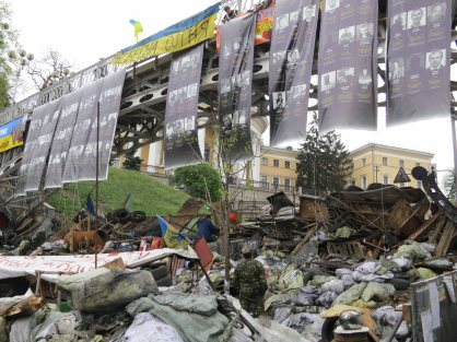 Banner of Heavenly Hundred killed on maidan in February 2014 on maidan barricade April 2014