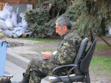 Self defense fighter on the maidan Kyiv (Kiev) April 2014