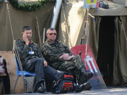 Self defense fighters outside Rivne tent on maidan April 2014