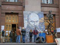 Self defense forces at City Hall on Khreshchatyk Street with Taras Shevchenko portrait Kyiv (Kiev) April 2014
