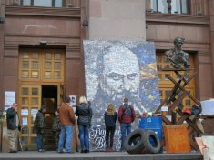 Self defense forces at City Hall on Khreshchatyk Street with Taras Shevchenko portrait Kyiv (Kiev) April 2014